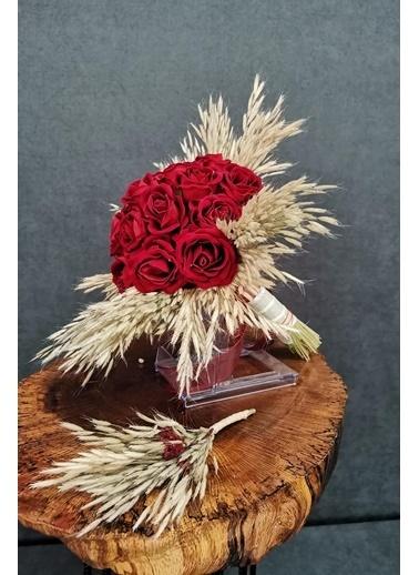 Kuru Çiçek Deposu Gelin Buketi Kırmızı Islak Güllü Gelin Buketi 2'Li Set Kırmızı